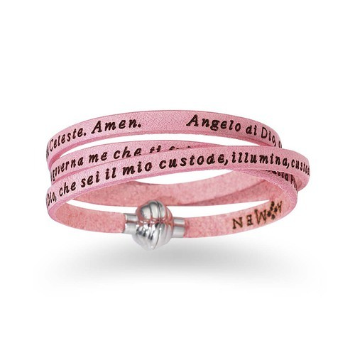 Junior Leather Bracelet Guardian Angel Prayer English- Pink