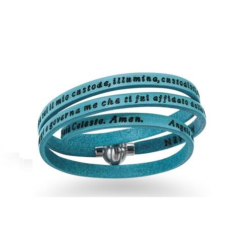 Junior Leather Bracelet Guardian Angel Prayer English- Turquoise