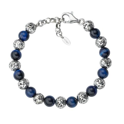 Lava Stone and Big Blue Tiger Eye Bracelet