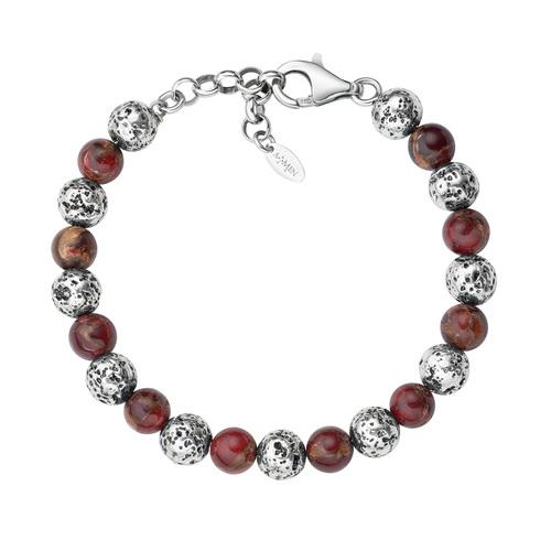 Lava Stone and Big Red Tiger Eye Bracelet