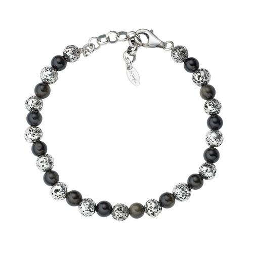 Lava Stone and Black Tiger Eye Bracelet