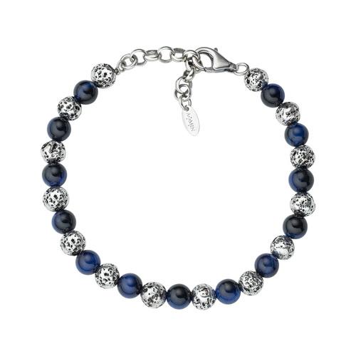 Lava Stone and Blue Tiger Eye Bracelet