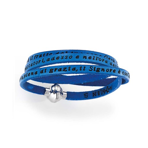 Leather Bracelet Hail Mary Prayer in English - Blue