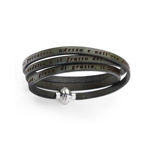 Leather Bracelet Hail Mary Prayer in English - Military Green
