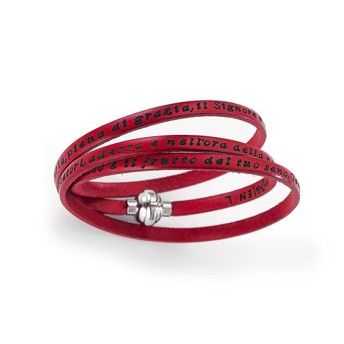Leather Bracelet Hail Mary Prayer in English - Red