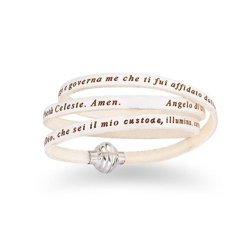Leather Bracelet Hail Mary Prayer in English - White