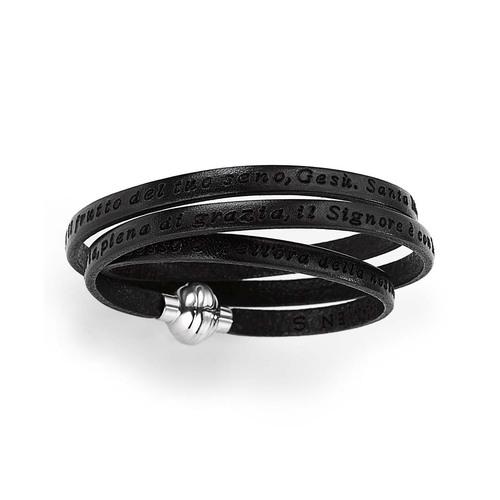 Leather Bracelet Hail Mary Prayer in Italian - Black
