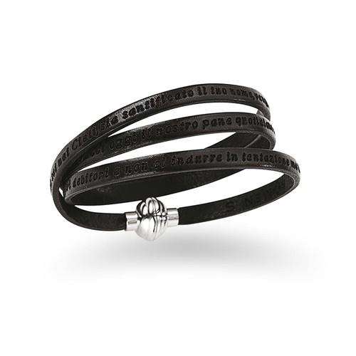 Leather Bracelet Lord's Prayer in English - Black