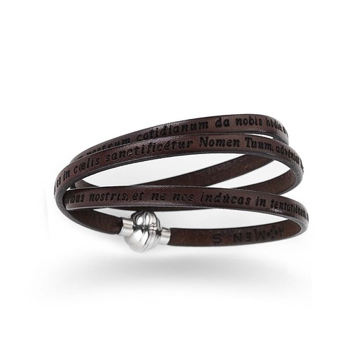 Leather Bracelet Lord's Prayer in English - Brown