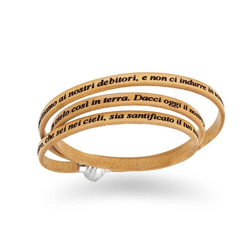 Leather Bracelet Lord's Prayer in English - Camel