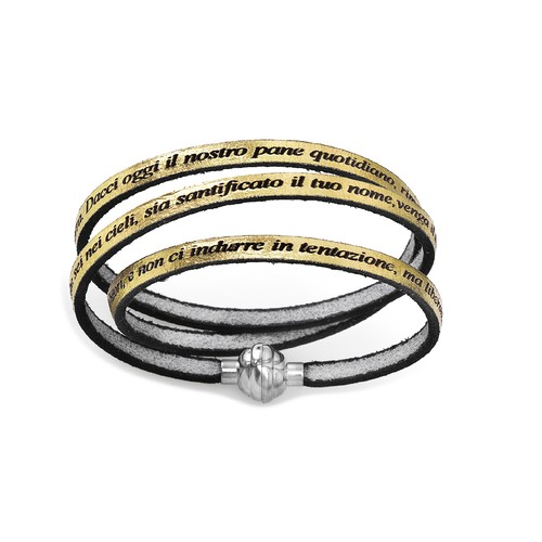Leather Bracelet Lord's Prayer in English - Gold