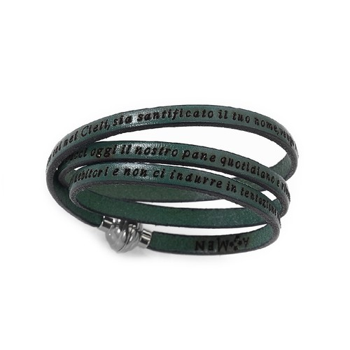 Leather Bracelet Lord's Prayer in English - Military Green