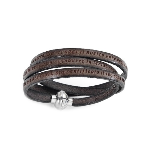 Leather Bracelet Lord's Prayer in English - Mud