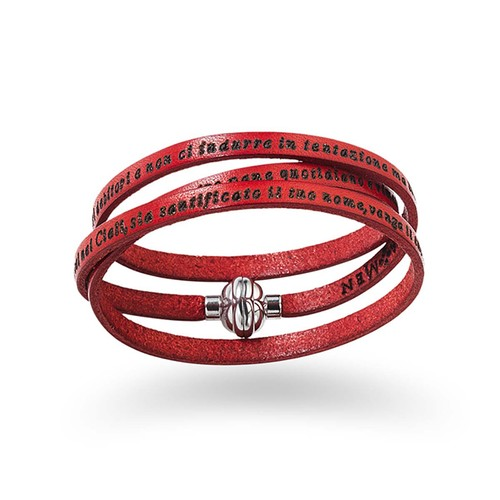 Leather Bracelet Lord's Prayer in English - Red