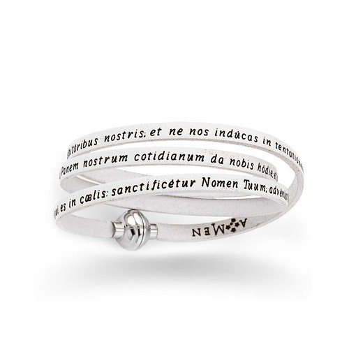 Leather Bracelet Lord's Prayer in English - White