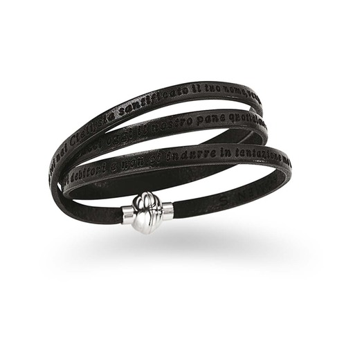 Leather Bracelet Our Father Prayer Italian - Black