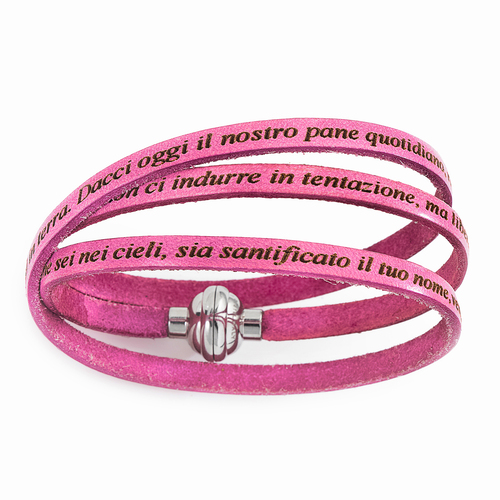 Leather Bracelet Our Father Prayer Italian - Pink