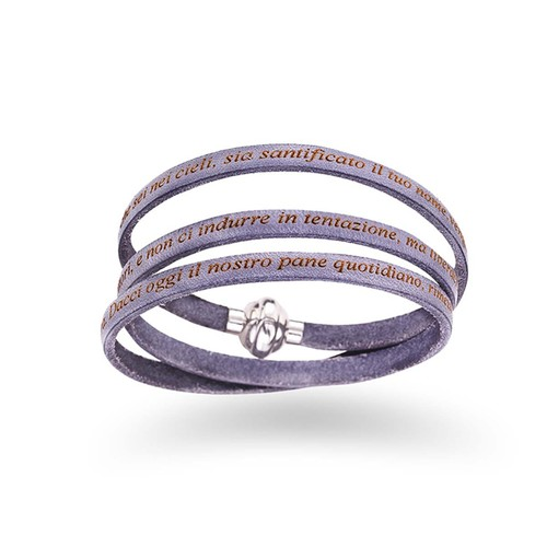 Leather Bracelet Serenity Prayer in English - Dove Grey