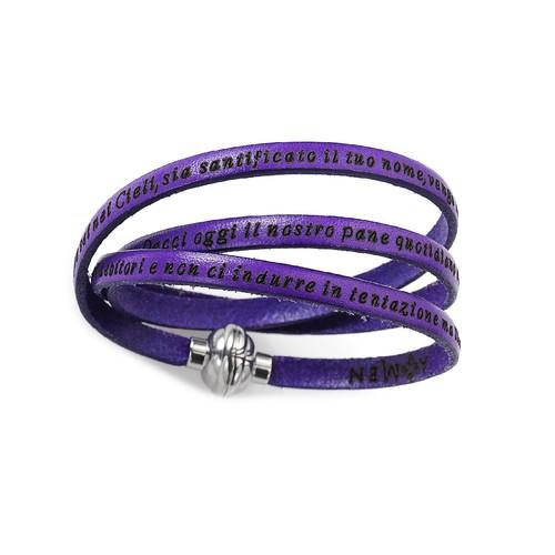 Leather Bracelet Serenity Prayer in English - Purple