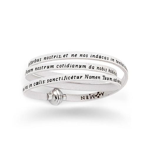Leather Bracelet Serenity Prayer in English - White