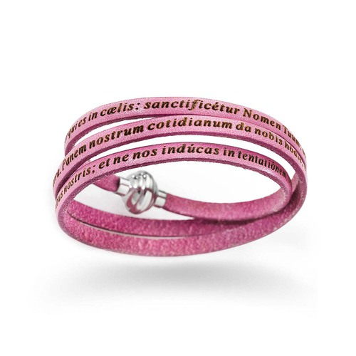 "Leather Wrap Bracelet engraved with ""Our Father"" Prayer in Latin - Light Pink"