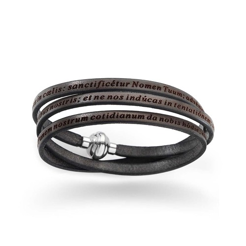 """Leather Wrap Bracelet engraved with """"Our Father"""" Prayer in Latin - Mud"""