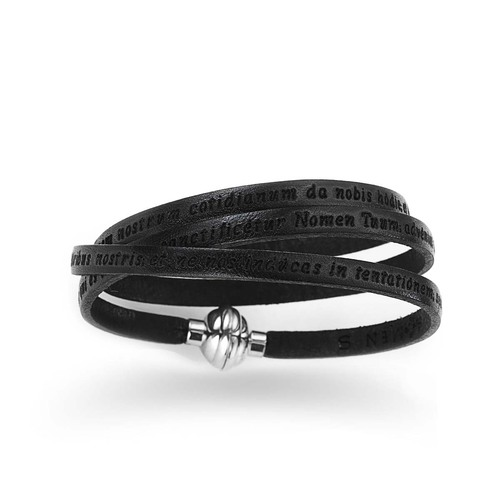 "Leather Wrap Bracelet engraved with ""Our Father"" Prayer Latin - Black"