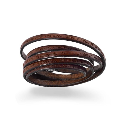 Leather Wrap Bracelet engraved with St. Francisco Prayer in Italian -Brown