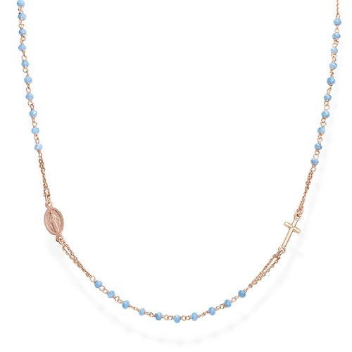 Light Blue Crystals Rosary Necklace