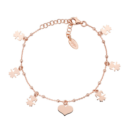 Little Girl and Rosé Hearts Bracelet