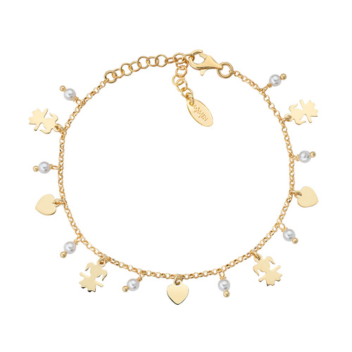 Little Girl Charm Bracelet and Golden Hearts
