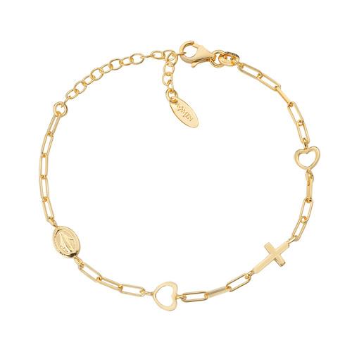 Miraculous Cross Chain Bracelet and Golden Hearts