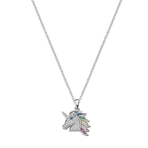 Multicolor Zirconia Unicorn Necklace