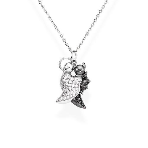 Necklace Angel and Devil Pavè N&N