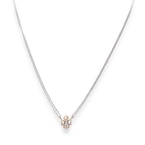 Necklace Angel in Rhodium and rosè con cubic zirconia White
