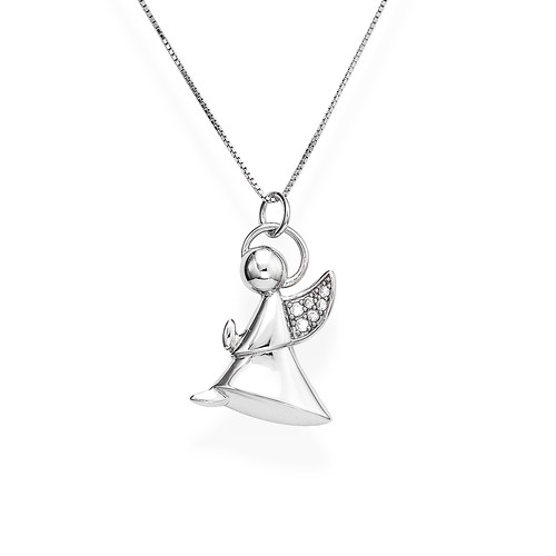 Necklace Angel Profile Silver Zirconia N&N