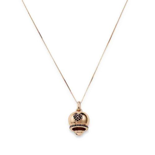 Necklace Bell Heart in AG925 Black cubic zirconia rosè