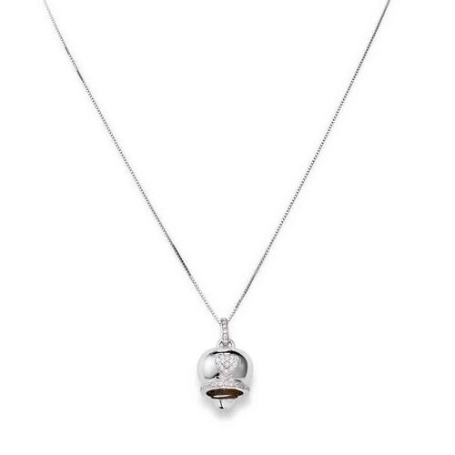 Necklace Bell Heart in AG925 White cubic zirconia rodio