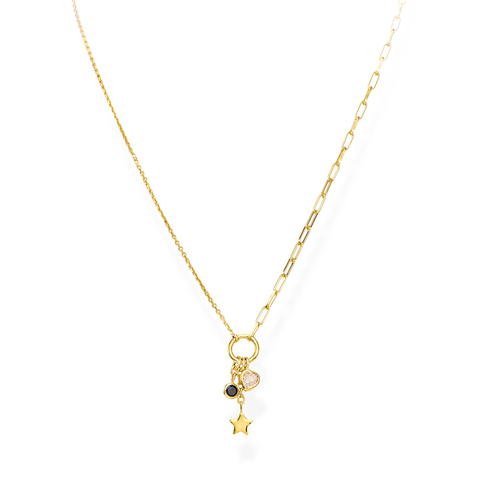 Necklace Charm Star Golden and Crystals