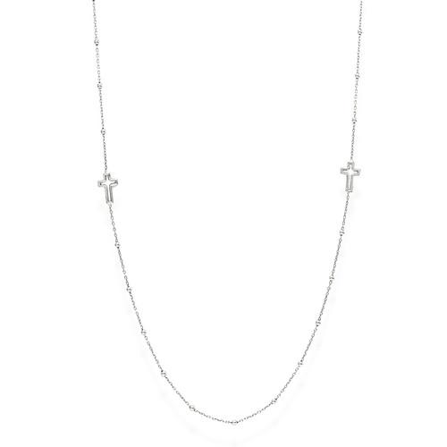 Necklace Choker Crosses Rhodium