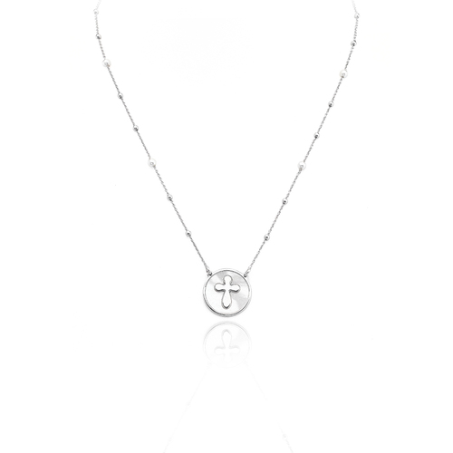 Necklace cross AG925 with mother of pearl white