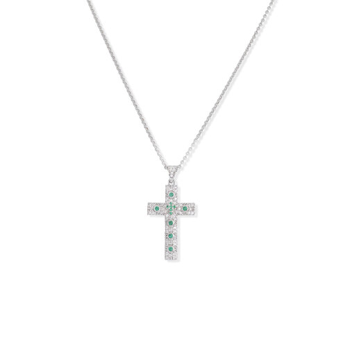 Necklace cross Rhodium with zircon, - Lenght 50 cm color