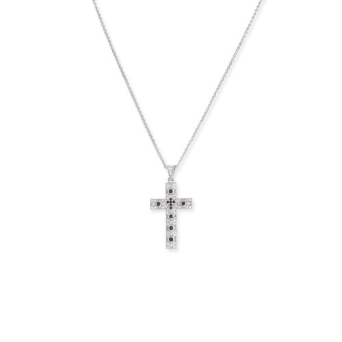 Necklace cross Rhodium with zircon, - Lenght 50 cm