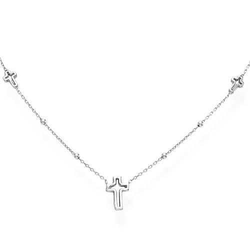 Necklace Crosses Rhodium