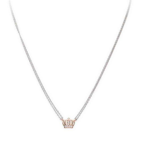 Necklace Crown in Rhodium and rosè con cubic zirconia White
