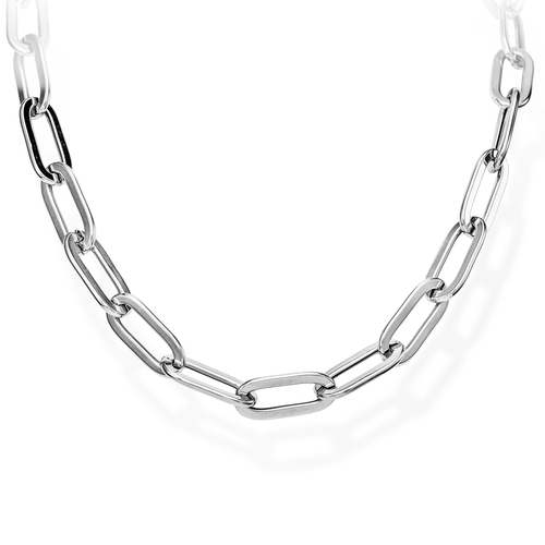 Necklace Crushed Rolò Chain Oval Rhodium