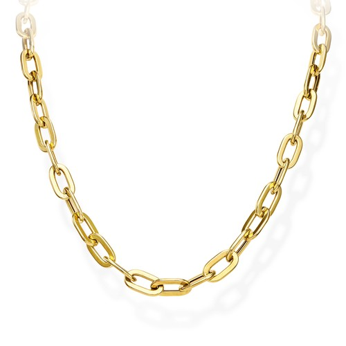 Necklace Crushed Rolò Chain Square Golden
