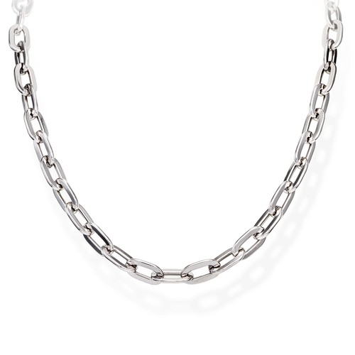 Necklace Crushed Rolò Chain Square Rhodium