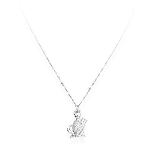 Necklace Devil Profile Silver Pavè N&N