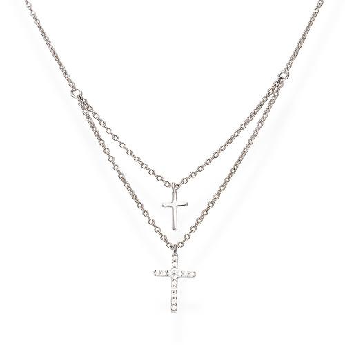 Necklace Double Cross Zircons